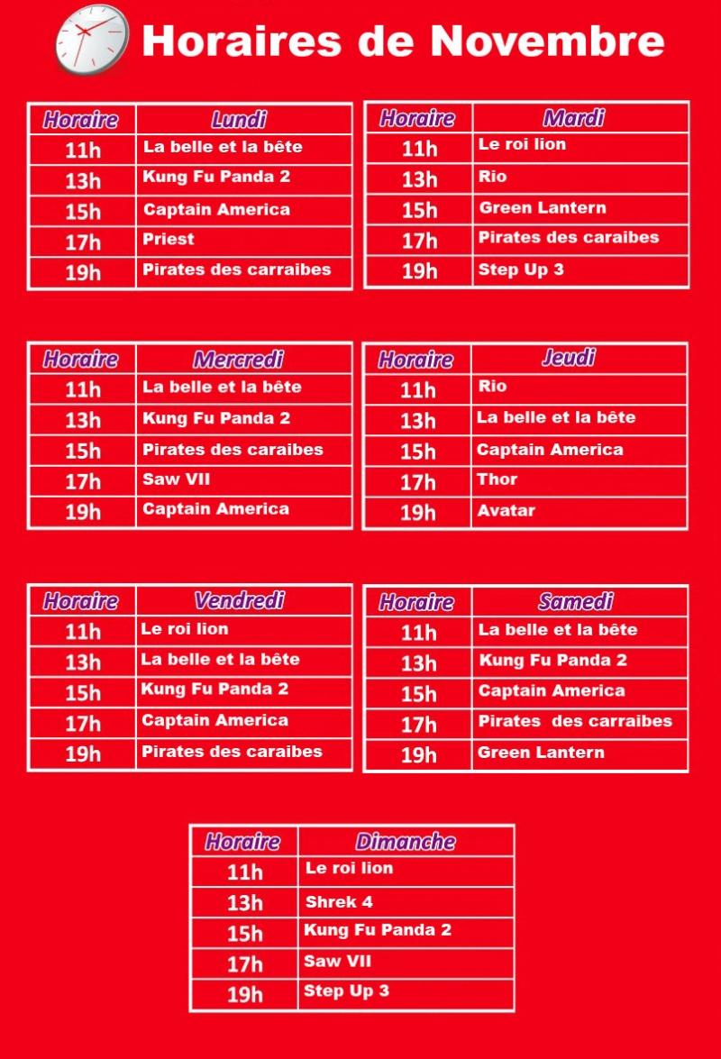 horaire de projection du mois de Novembre