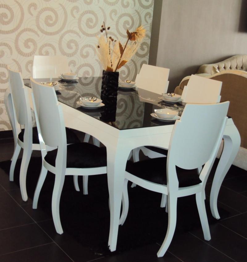 table et 6 chaises karim laquée