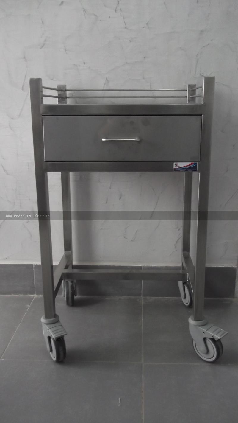 table en inox avec 1 tiroir