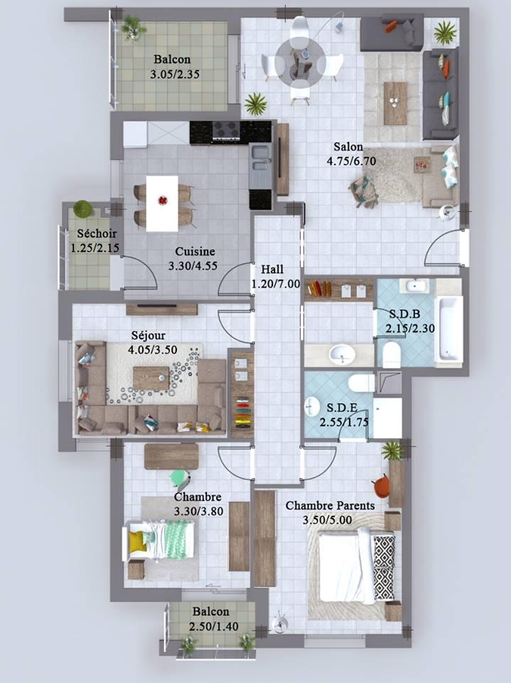 S+3 de surface 171 m²