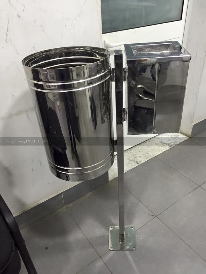 cendrier-poubelle en inox