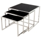 set de 3 table en inox et verre